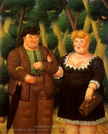 A Couple painting reproduction, Fernando Botero