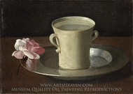 A Cup of Water and a Rose painting reproduction, Francisco De Zurbaran