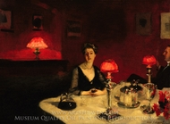A Dinner Table at Night painting reproduction, John Singer Sargent