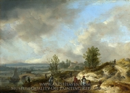 A Dune Landscape with a River and Many Figures painting reproduction, Philips Wouwerman