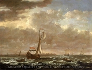 A Dutch Admiralty Yacht off Flushing painting reproduction, Cornelis Claesz Van Wieringen