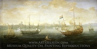 A Dutch and an English Ship off a Harbour painting reproduction, Abraham De Verwer