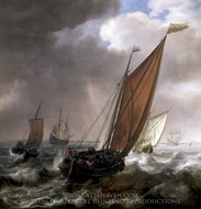 A Dutch Ferry Boat Before a Breeze painting reproduction, Simon De Vlieger