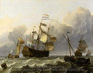 A Dutch Flagship with a Yacht Under her Stern painting reproduction, Ludolf Backhuysen