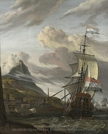A Dutch Ship Entering a Mediterranean Port painting reproduction, Abraham Storck