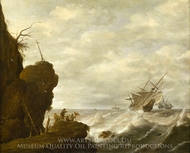 A Dutch Ship in a Breeze off a Rocky Coast painting reproduction, Pieter Mulier, The Elder
