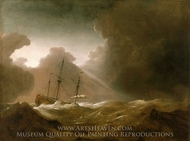 A Dutch Ship Scudding Before a Storm painting reproduction, Willem Van De Velde