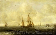 A Dutch Whaling Fleet painting reproduction, Jacob Feytsz De Vries