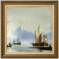 A Dutch Yacht and Other Vessels Becalmed near the Shore painting reproduction, Hendrik Jacobsz Dubbels