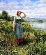 A Field of Flowers painting reproduction, Daniel Ridgway Knight