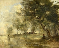 A Flood painting reproduction, Jean-Baptiste Camille Corot