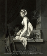 A Girl at a Window painting reproduction, Louis Leopold Boilly