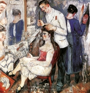 A Girl at Hairdressers painting reproduction, Mikhail Larionov