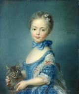 A Girl with a Kitten painting reproduction, Jean-Baptiste Perronneau