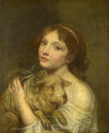 A Girl with a Lamb painting reproduction, Jean Baptiste Greuze