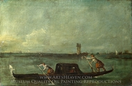 A Gondola on the Lagoon Near Mestre painting reproduction, Francesco Guardi