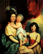 A Group Portrait of a Lady and Her Two Children painting reproduction, Benjamin West