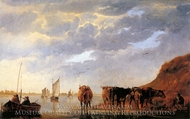 A Herdsman with Five Cows by a River painting reproduction, Aelbert Cuyp