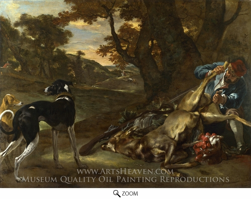 Jan Weenix, A Huntsman Cutting Up a Dead Deer, with Two Deerhounds oil painting reproduction