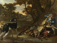 A Huntsman Cutting Up a Dead Deer, with Two Deerhounds painting reproduction, Jan Weenix