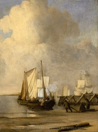 A Kaag Coming Ashore near a Groyne with Ships and Vessels under Sail Beyond painting reproduction, Willem Van De Velde