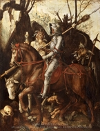 A Knight, Death, and the Devil painting reproduction, Cornelis van Dalem