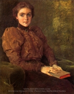 A Lady in Brown painting reproduction, William Merritt Chase