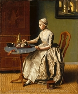 A Lady Pouring Chocolate (La Chocolatiare) painting reproduction, Jean-Etienne Liotard