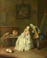 A Lady Receiving a Cavalier painting reproduction, Pietro Longhi