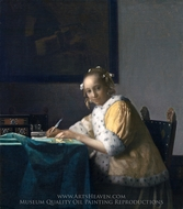 A Lady Writing a Letter painting reproduction, Jan Vermeer