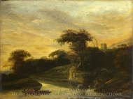 A Landscape with a River at the Foot of a Hill painting reproduction, Jacob De Wet, The Elder