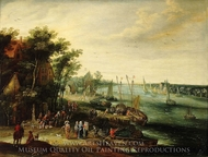 A Landscape with a Village on the Bank of a River painting reproduction, Jan Brueghel