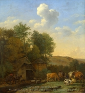 A Landscape with Cows, Sheep and Horses by a Barn painting reproduction, Paulus Potter