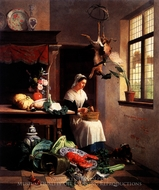 A Maid in the Kitchen painting reproduction, David Emil Joseph De Noter