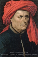 A Man painting reproduction, Robert Campin