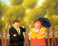 A Man and a Woman painting reproduction, Fernando Botero