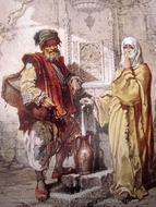 A Man and Woman at the Fountain painting reproduction, Amedeo Preziosi