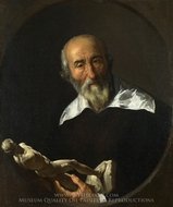 A Man holding an Armless Statuette painting reproduction, Italian Painter