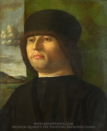 A Man in Black painting reproduction, Italian Painter