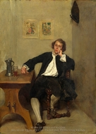 A Man in Black Smoking a Pipe painting reproduction, Ernest Meissonier