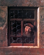 A Man Looking through a Window painting reproduction, Samuel Van Hoogstraten