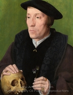 A Man with a Pansy and a Skull painting reproduction, Jan Van Scorel