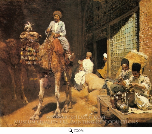 Edwin Lord Weeks, A Marketplace in Ispahan oil painting reproduction