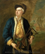 A Merchant Captain with Elton's Quadrant painting reproduction, John Vanderbank