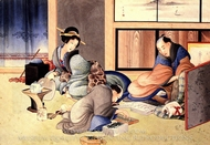 A Merchant Making up the Account painting reproduction, Katsushika Hokusai