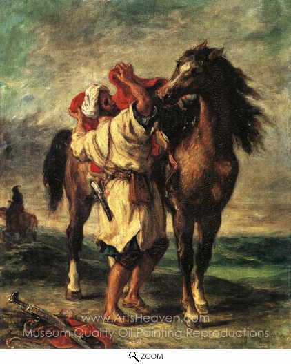 Eugene Delacroix, A Moroccan Saddling A Horse oil painting reproduction