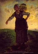 A Norman Milkmaid at Greville painting reproduction, Jean-Francois Millet