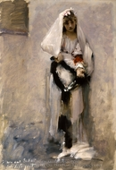 A Parisian Beggar Girl painting reproduction, John Singer Sargent