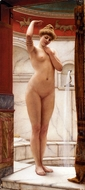 A Pompeian Bath painting reproduction, John William Godward