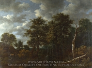 A Pool Surrounded by Trees painting reproduction, Jacob Van Ruisdael
